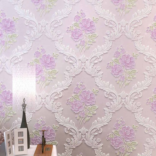 Floral Wallpapers Vintage Damask Rustic Non Woven Europe Bedroom Wall Paper 3D Pink Yellow Purple
