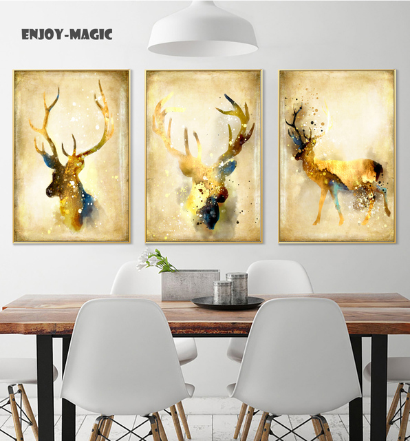 Home Decor Canvas Poster Elk gold Watercolor Home Decoration Wall ...