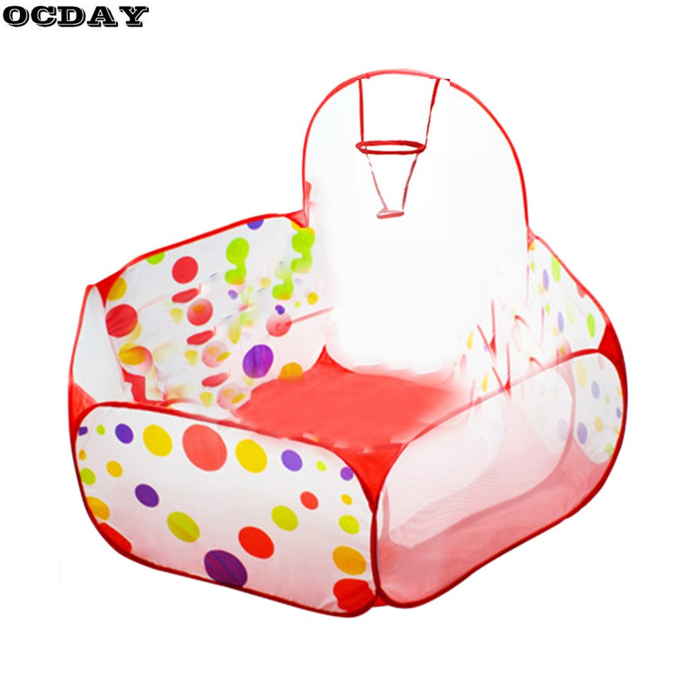Hot! OCDAY Foldable Baby Play House Tent Polka Dot Basketball Tent Kids Ocean Ball Pool Outdoor&Indoor Sports Toy Tents for Kids