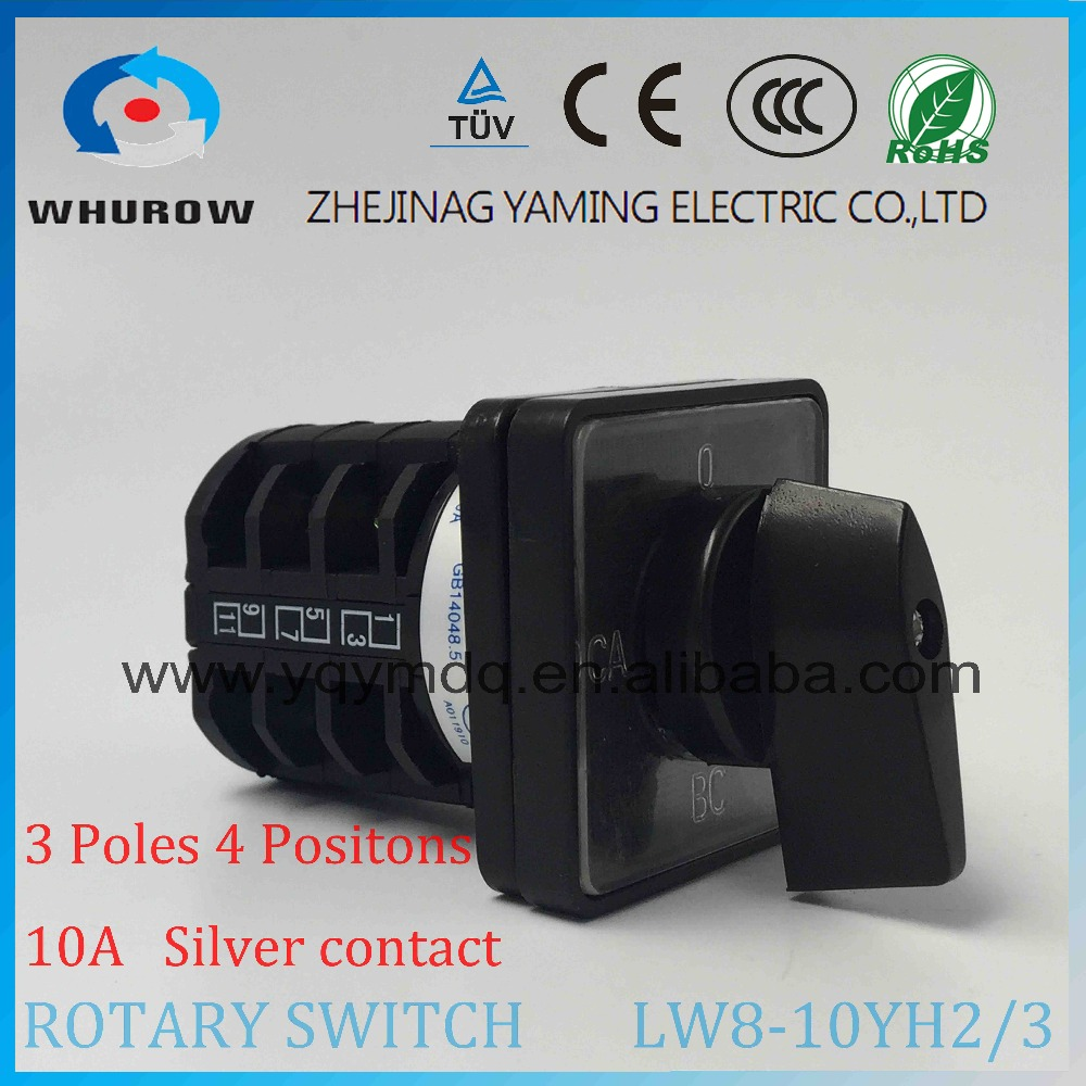 3 position Rotary switch LW8-10YH2/3 universal switch 10A 3 poles12 Terminal voltage convert black rotary changeover cam switch load circuit breaker switch ac ui 660v ith 100a on off 3 poles 3 phases 3no 2 position universal rotary cam changeover switch