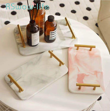 Creative Marbled Gold Belt Trays Rectangular Cosmetic Jewelry Storage Tray Decorative Service For Household
