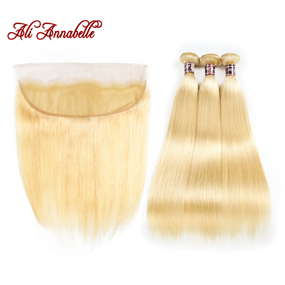 ALI ANNABELLE 613 Bundles With Frontal Malaysian Straight Human Hair 3 Bundles With Closure Blonde Bundles