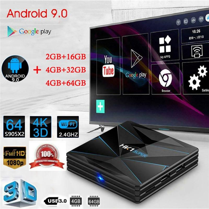 מחשבי וברזי השקיה Android9.0 HK1 MAX 4K HD Smart TV Box 2 / 4GB + 16/32 / 64GB Dual wif 3D Smart Media Player (1)