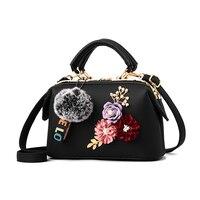 Amberler Fashion PU Leather Handbags Women Shoulder Bag With Flower High Quality Ladies Crossbody Bags Casual Small Bag Female