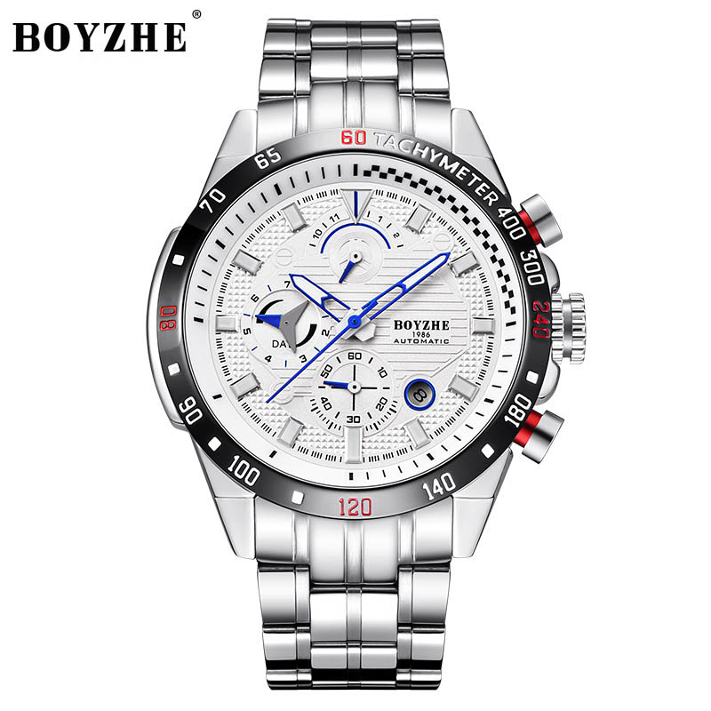 BOYZHE Mens Fashion Casual Mechanical Watches Waterproof 30M Stainless Steel Brand Luxury Automatic Business Watch Men saatBOYZHE Mens Fashion Casual Mechanical Watches Waterproof 30M Stainless Steel Brand Luxury Automatic Business Watch Men saat