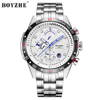 BOYZHE Men's Fashion Casual Mechanical Watches Waterproof 30M Stainless Steel Brand Luxury Automatic Business Watch Men saat