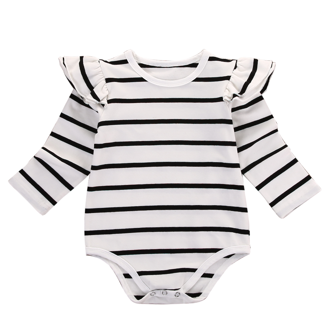 Newborn Baby Boy Girl Cotton Ruffle Long Sleeve Striped   Romper   Jumpsuit Outfits Clothes