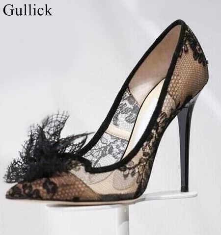 Chic Black Lace Mesh High Heels Pumps Classy Women Lace Flower Pointy Stiletto Heel Pumps Fashion Slip-on Women Dress Shoes chic round collar white t shirt high waisted lace suspender dress women s twinset