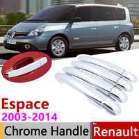 Pour Renault Espace IV 2003 ~ 2014 Chrome poignée de porte couverture voiture accessoires autocollants garniture ensemble 2004 2006 2007 2008 2010 2012 2013