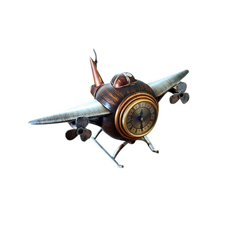 Retro Aircraft Alarm Clock The DIY Household Decor Airplane Table Seat Clock And Wine Bar Clothes Shop Decor Retro Clock