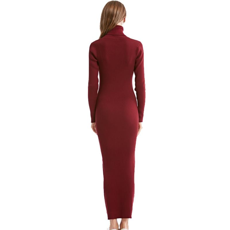 2020 New Fashion Women Sexy Party Dress Knit style Long Sleeve Turtleneck Winter Maxi Dress Slim Work Wear Office Dress Vestidos