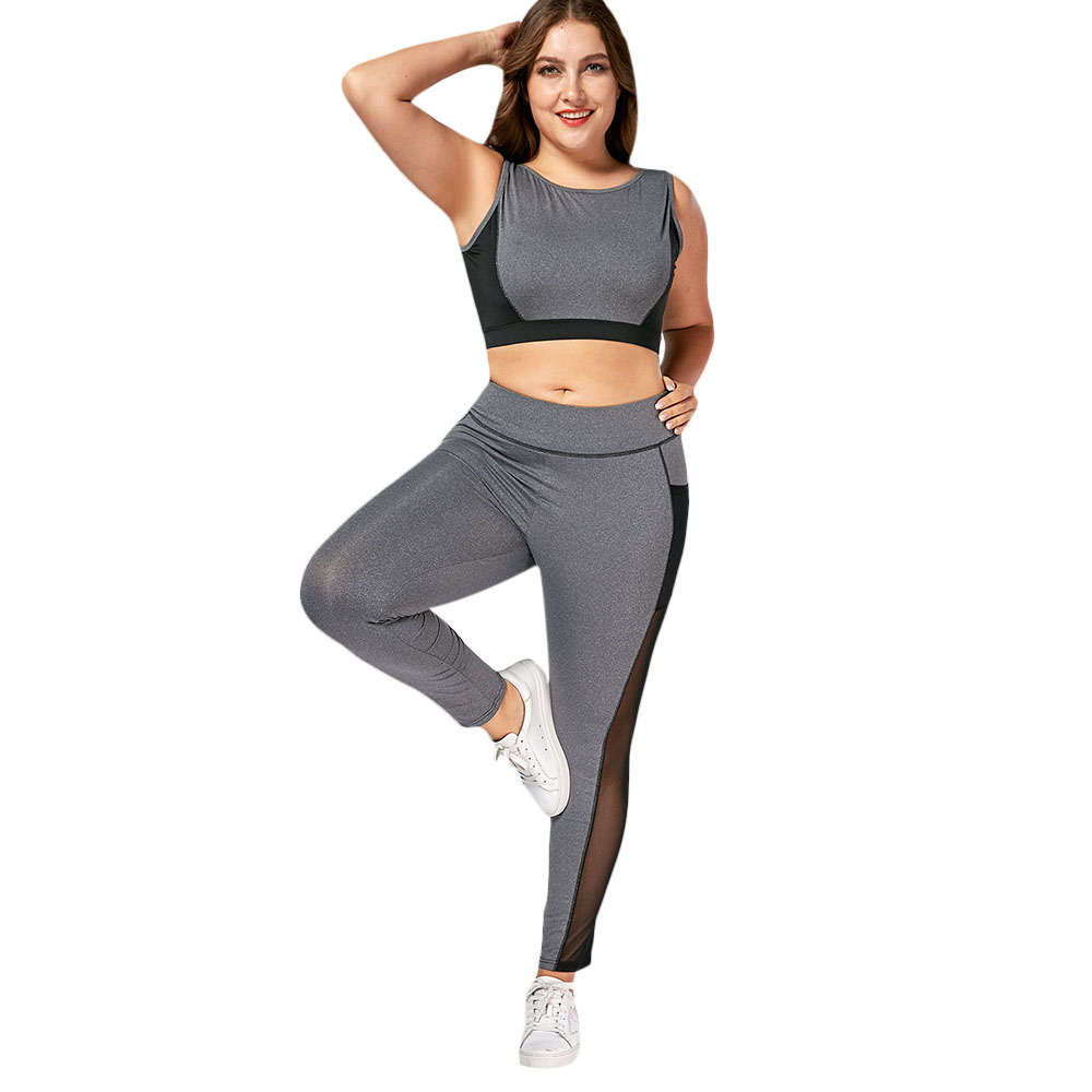 d183cd9807 2018 Women Hot Yoga Set Sleeveless Plus Size Wirefree Bra And Mesh Panel  Leggings Lady Fitness Sports Suits-in Yoga Sets from Sports & Entertainment  on ...