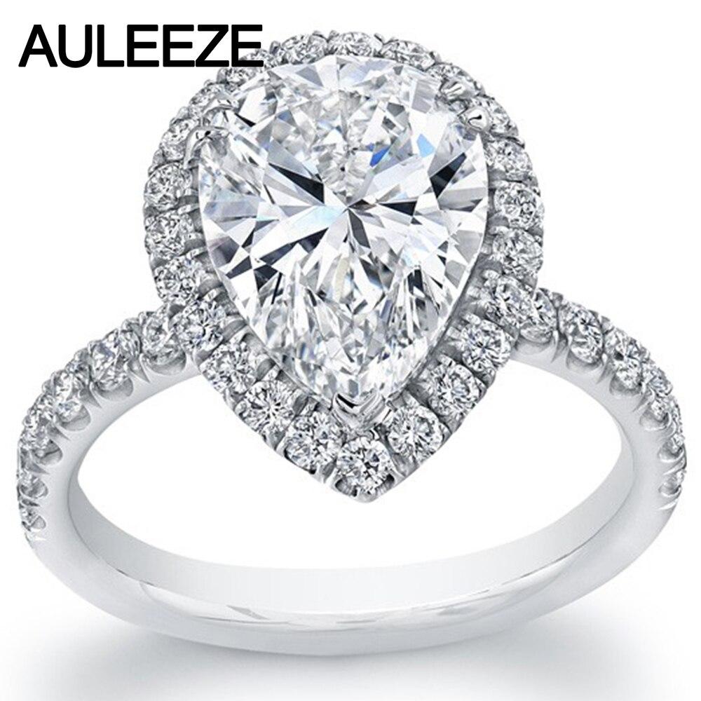 مسحور 4 قيراط الكمثرى شكل مجوهرات مقلد الماس هالو خاتم الخطوبة 9 كيلو الذهب الأبيض خاتم الزفاف الذكرى عيد