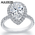 Enchanted 4 Carat Pear Shaped Simulated Diamond Jewelry Halo Engagement Ring 9K White Gold Wedding Ring Anniversary Christmas