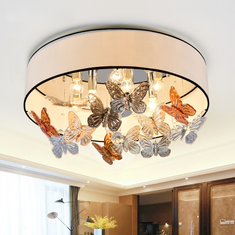 Ceiling Lamp Shades For Living Room: 2016 New Design Butterfly Art Fabric Shade Living Room