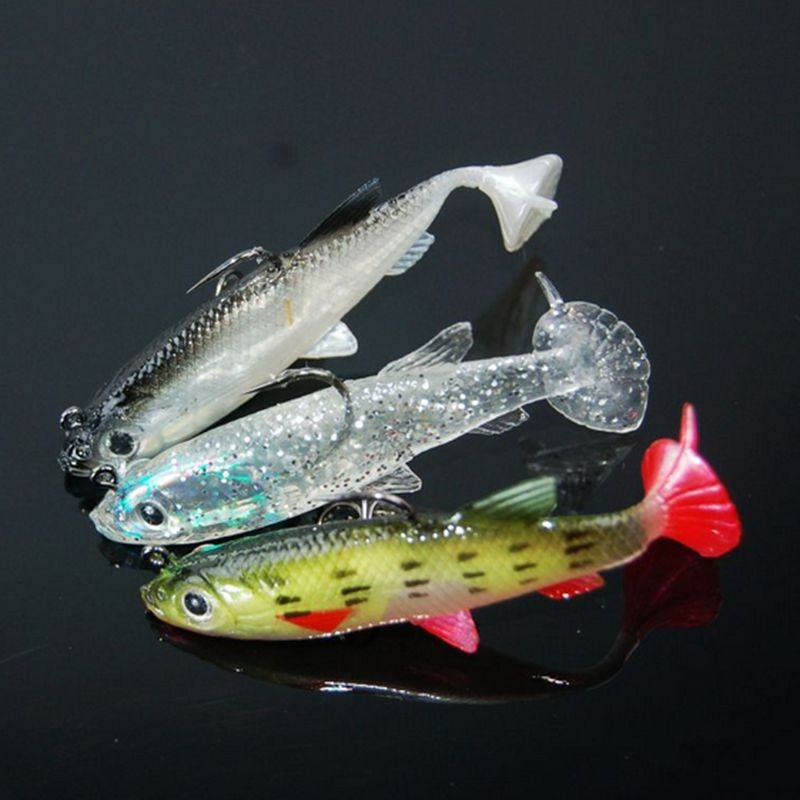 Image 1 - Lead Head Hook Soft Baits Fishing Lure 3D eyes Fish Sea Bass Fishing Tackle Wobblers 84mm 14g 3Pcs Artificial Silicone Bait-in Fishing Lures from Sports & Entertainment