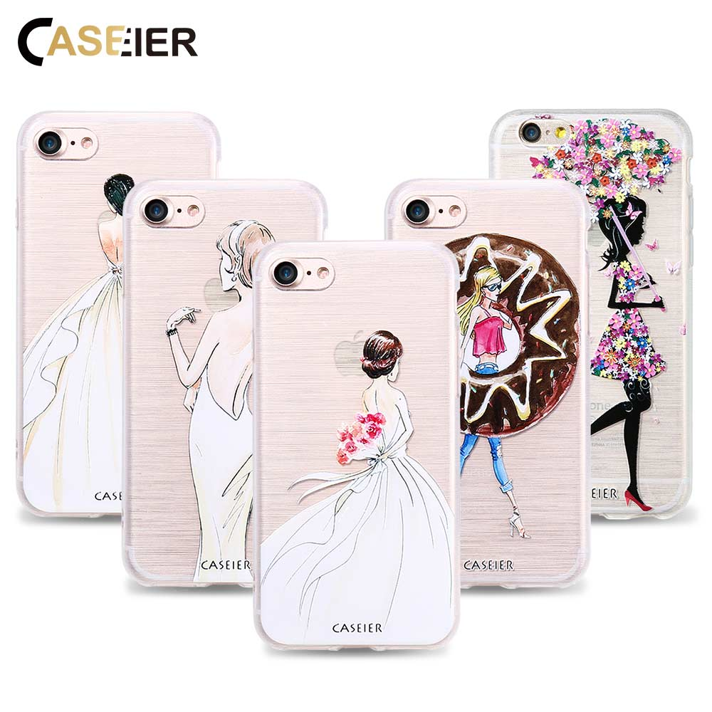 Caseier phone case para iphone 8 8 plus 7 7 plus capa tpu macio casos ultra-finos beauty girl para iphone x silicone funda capinha