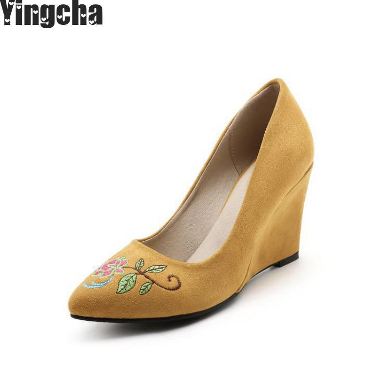 Ladies Big Size(34-48) Pu Leather Wedges Pointed Toe High Heels Single Shoes Women Pumps Yellow Red Gray Pink plus size 34 49 new spring summer women wedges shoes pointed toe work shoes women pumps high heels ladies casual dress pumps
