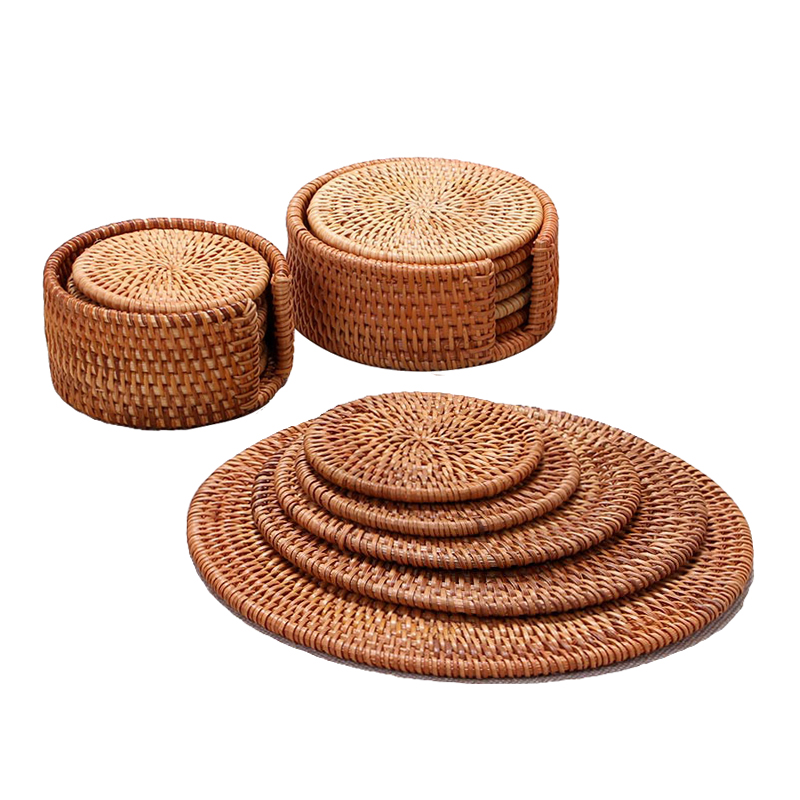 Rattan Cup Coasters Set Pot Pad Table Mat Rattan Tea Mats
