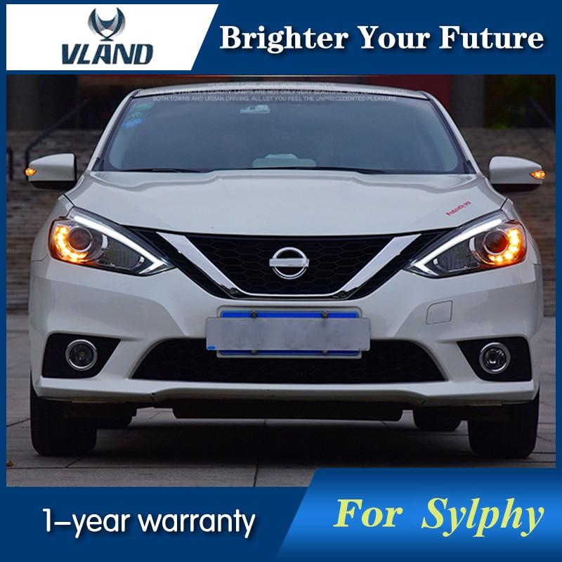 VLAND Автомобильная фара для Nissan Sylphy светодиодный фары Биксеноновые линзы передняя фара