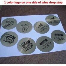 1000 قطعة شعار مخصص مطبوعة على مدفق نبيذ قطرة وقف صب القرص مدفق نبيذ عدة نبيذ تعزيز هدية بار اكسسوارات