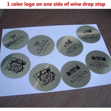 1000pcs Customized LOGO  Printed On Wine Pourer Drop Stop Pouring Disc Wine Pourer Wine Set Promotion Gift Bar accessories