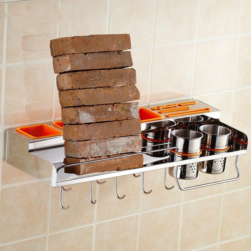 304 stainless steel kitchen shelves wall-mounted multi-function kitchen appliances shelf pendants with hooks LU50714
