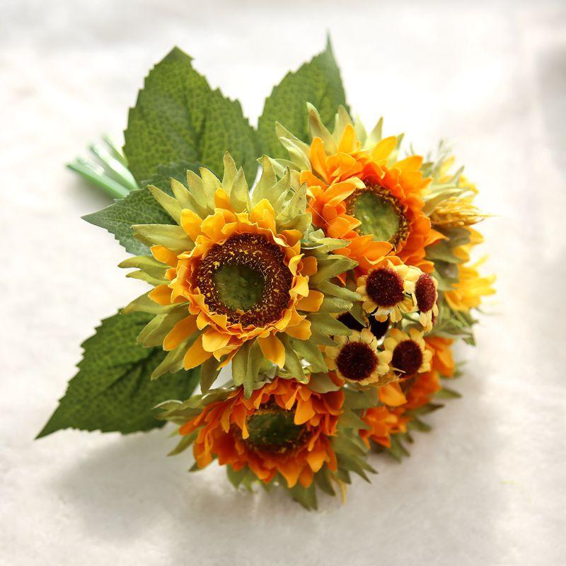 Осенние украшения с 5 головками, Желтые Подсолнухи, шелковые искусственные цветы, букет для домашнего декора, офисные вечерние украшения дл...