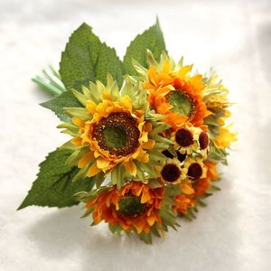 Image 1 - Autumn Decoration 5 Heads Yellow Sunflower Silk Artificial Flowers Bouquet For Home Decoration Office Party Garden Decor