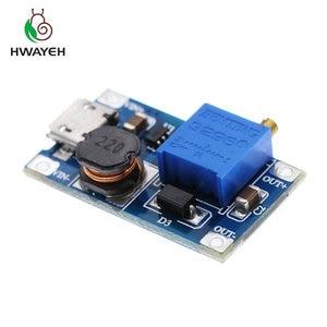 Image 3 - 5pcs/lot MT3608 DC DC Adjustable Boost Module 2A Boost Step Up Module with MICRO USB 2V   24V to 5V 9V 12V 28V LM2577