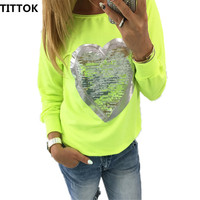 2016 Summer Round Neck Heart Shape Long Sleeve Blouse Women Tops Casual Female Pink Yellow