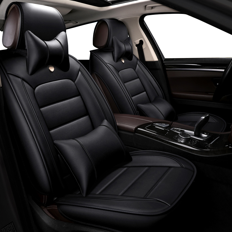 2002-2006 TOYOTA RAV4 LUXURY BLACK LEATHER LOOK CAR SEAT COVERS FRONT PAIR 1+1