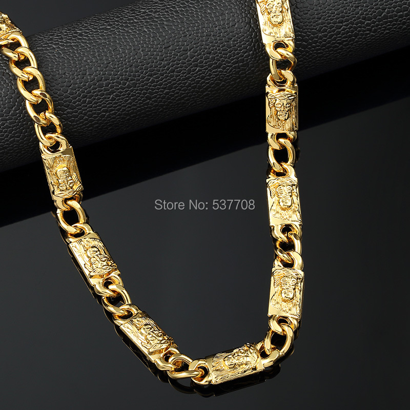 3Pc New Fashion 1cm70cm Gold Last King Chain Statement Necklace Men