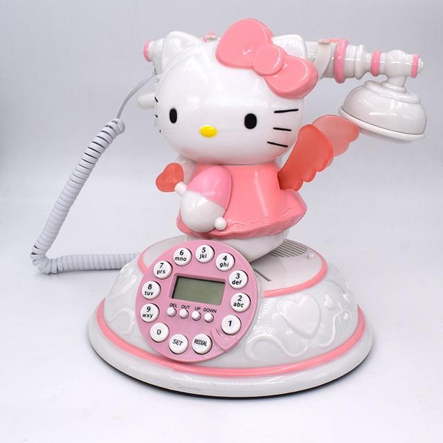 34c48f06d Classic Phone Hello Kitty Phone Cute Cartoon Workmanship Telephone Retro  Fashion Princess Phone Pink