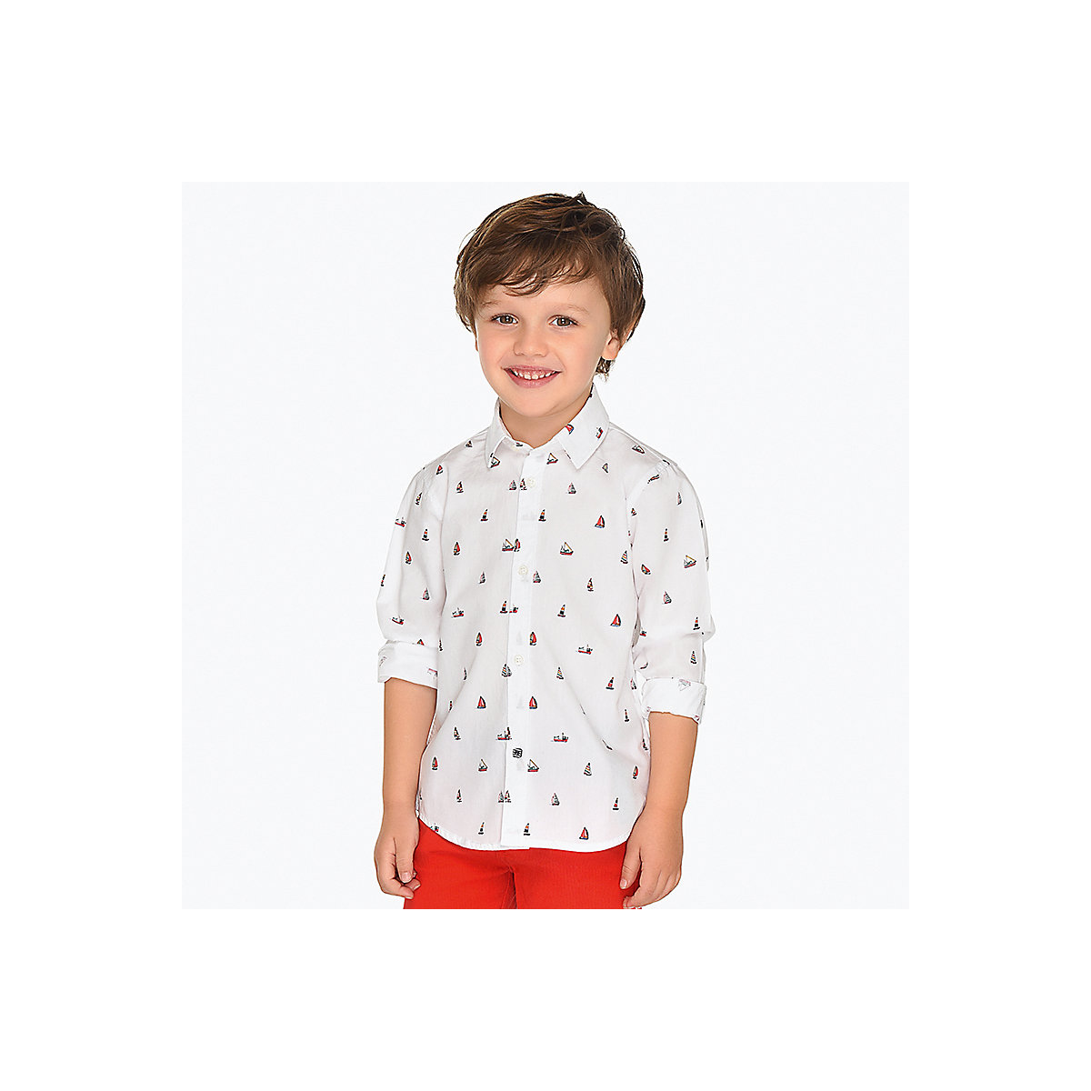 Blouses & Shirts MAYORAL 10689076 Children s Clothing shirt with long sleeve for a boy natural materials trendy round neck long sleeve love potion jacquard women s sweater
