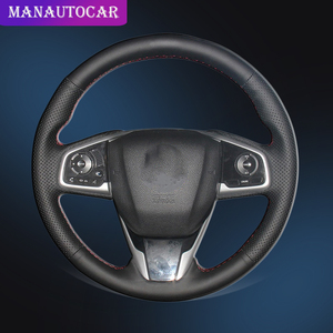 Image 1 - Auto Geflecht Auf Der Lenkrad Abdeckung für Honda Civic 10 2016 2017 CRV CR V 2017 Innen Hand Nähen Auto lenkrad Abdeckung