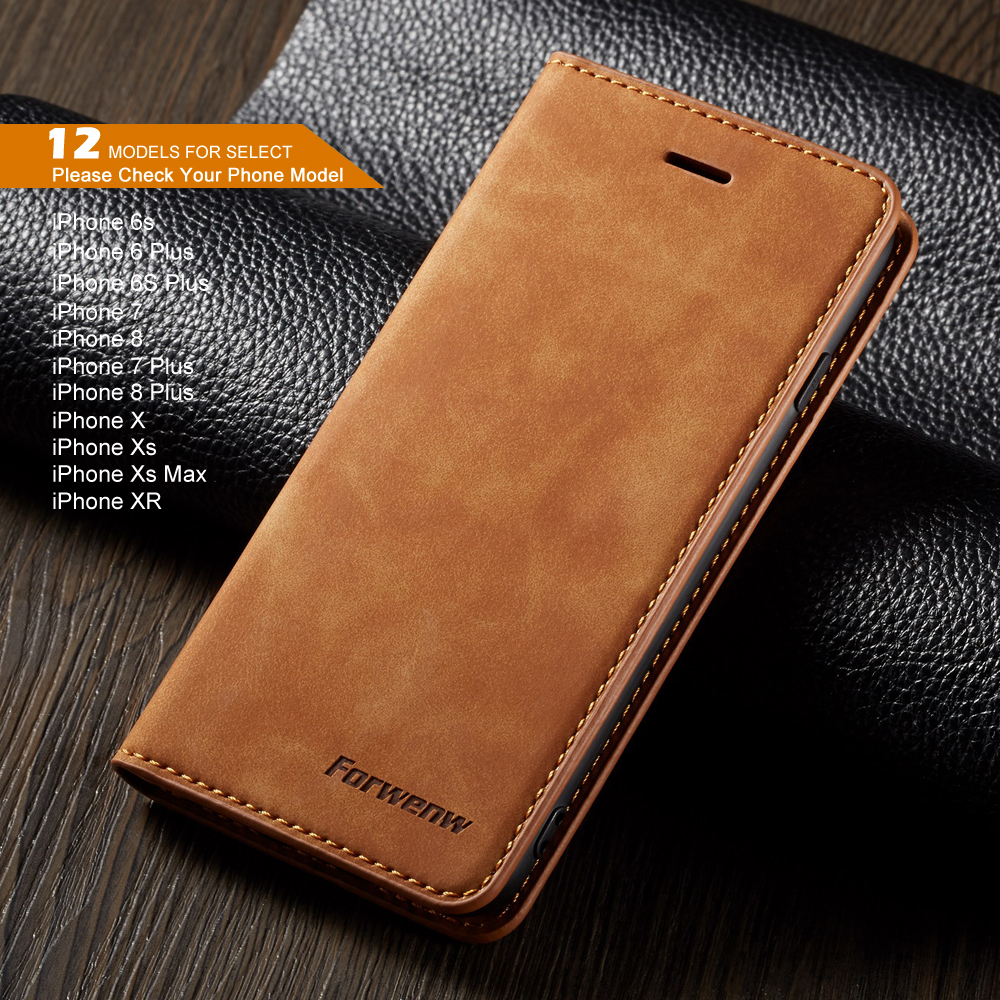 Magnet Leather Flip Case For iPhone 6 s 7 8 plus iPhone x XS Max XR Wallet Cover iphone 6s Case With Card Holder Phone Bag(China)