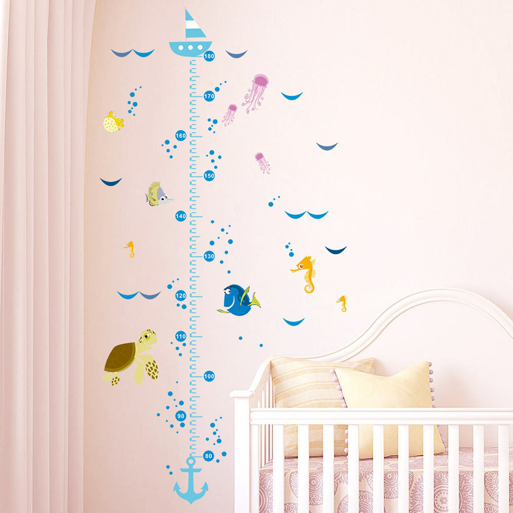 Funny Cartoon Fish Growth Chart Height Measure For