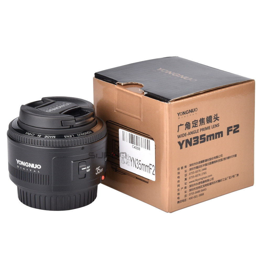 Yongnuo YN35mm F2 Lens AF/MF Fixed/Prime Auto Focus Lens for Canon 6D 760D 5D Mark IIII 550d 1100d 650D 70D 80D 77D 1200D 1300D