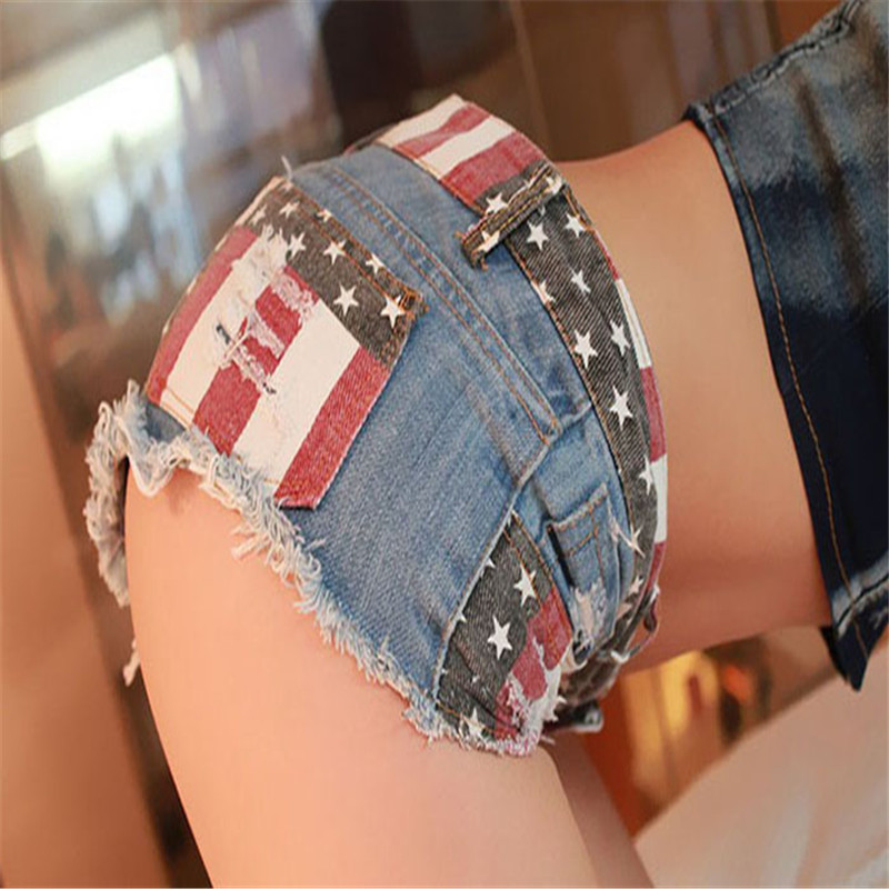 Womens Clothing Skinny Slim  Femme Trousers Jeans Woman 1PC Sexy American US Flag Mini Shorts Jeans Hot Pants Denim Low WaistY42
