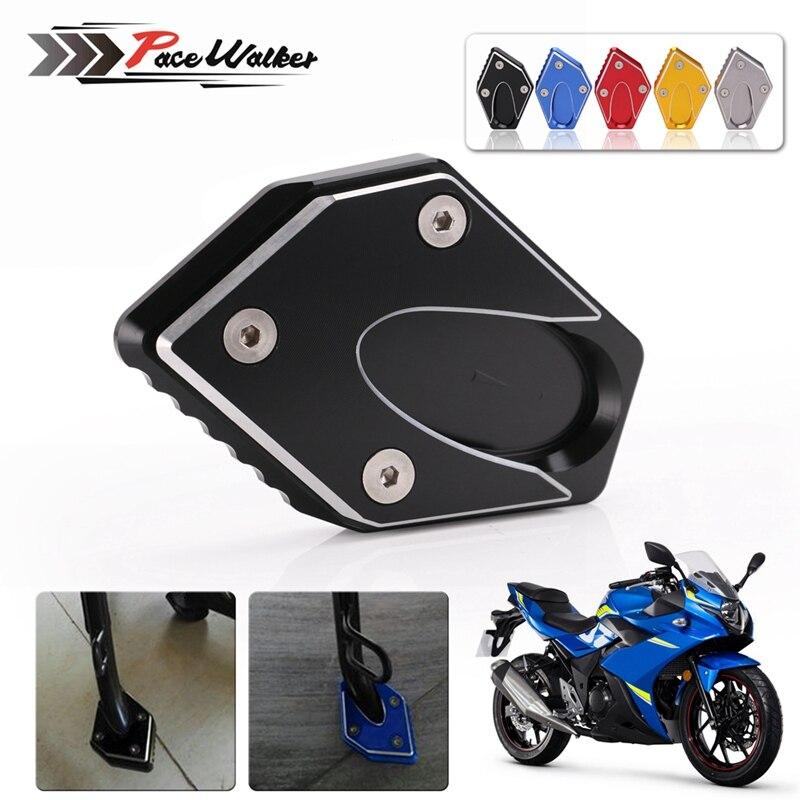 CNC Motorcycl Side Stand Kickstand Kick Extension Foot Plate Pad For Suzuki GW250 Inazuma GSX250 GSX250R DL250