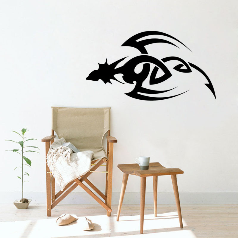 d02008359 Flying Tribal Dagger Dragon Wall Sticker Vinyl Wall Decal Creative Disign  Loong Decal Home Decor