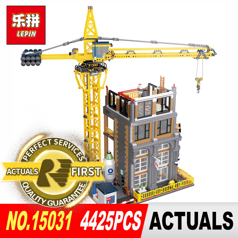 Lepin 15031 4425Pcs Genuine MOC Series The Construction site Building Blocks Bricks DIY Toys Model for Children Christmas Gifts lepin 02061 genuine city series the jungle exploration site set 60161 building blocks bricks christmas gift for children 870pcs