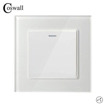 COSWALL 1 Gang 2 Chiều Cao Cấp Mặt Kính Pha Lê Bảng Công Tắc Bật Đèn/Tắt âm Tường Interruptor 16A