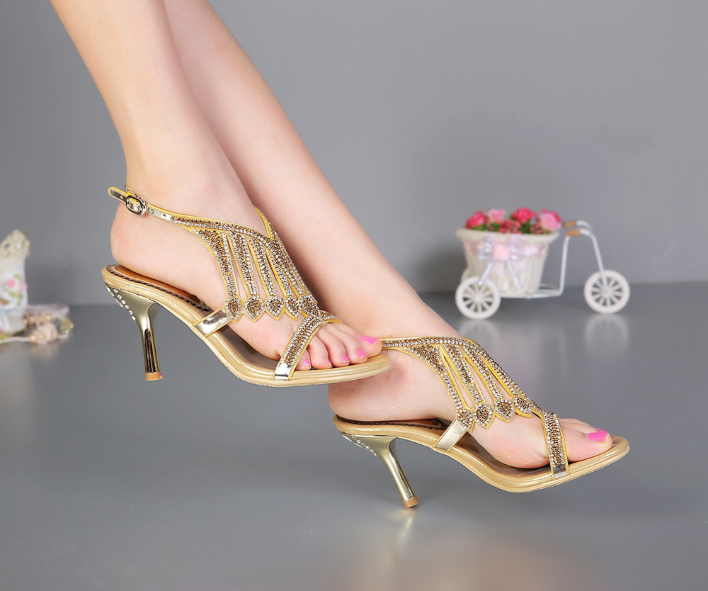 Top quality Women sandals high quality wedge high-heeled shoes genuine leather luxury rhinestone sandals big size women s valentine wedge high heeled