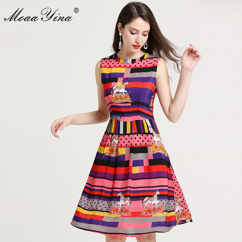 MoaaYina Color stripe Plaid Dot Print Slim Elegant Dresses Fashion Designer Runway Dress Summer Women dress