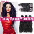 Brazilian Virgin Kinky Curly Hair with Closure Ali Julia Hair 7A Virgin Brazilian Hair Weave Bundles with Closure Jerry Curl