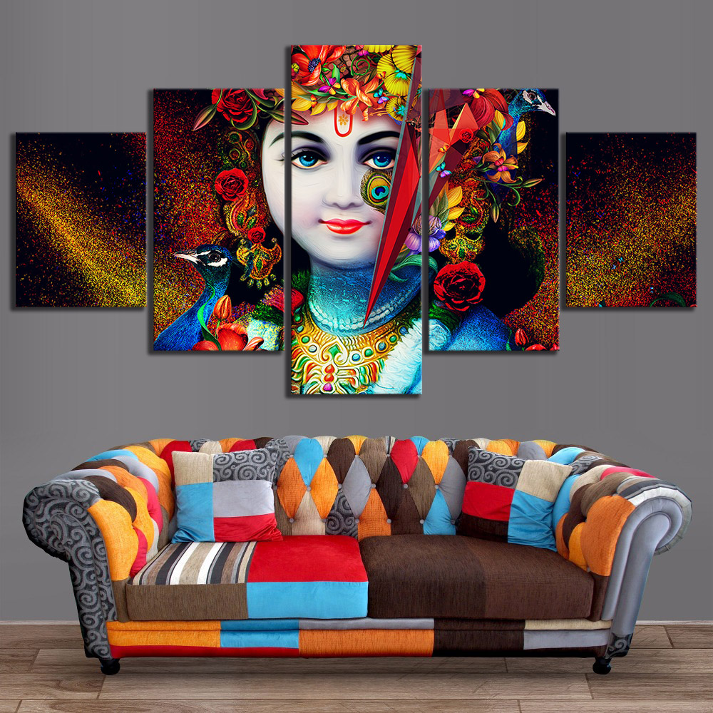 5 Piece Lord Krishna Abstract Art HD Canvas Art Wall Paintings for Home Decor 1