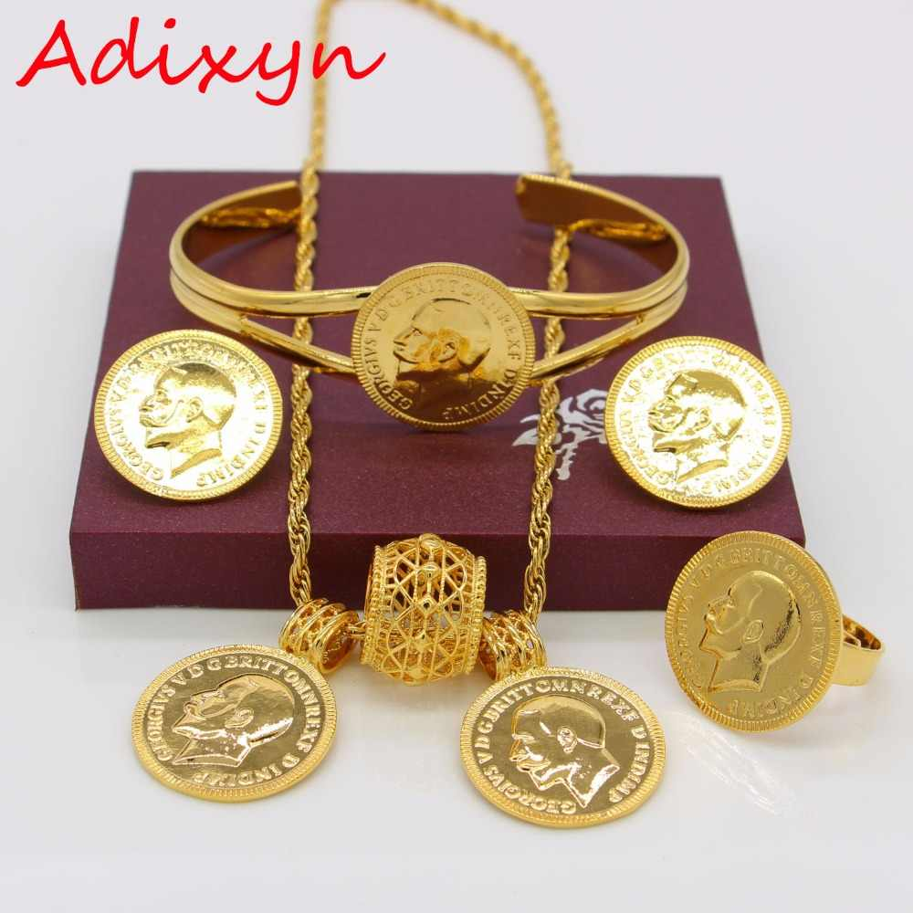 Adixyn Gold Color Coin Jewelry Set Ethiopian Necklace Pendant/Earrings/Ring/Bangle Habesha Wedding Eritrea/Africa Gift