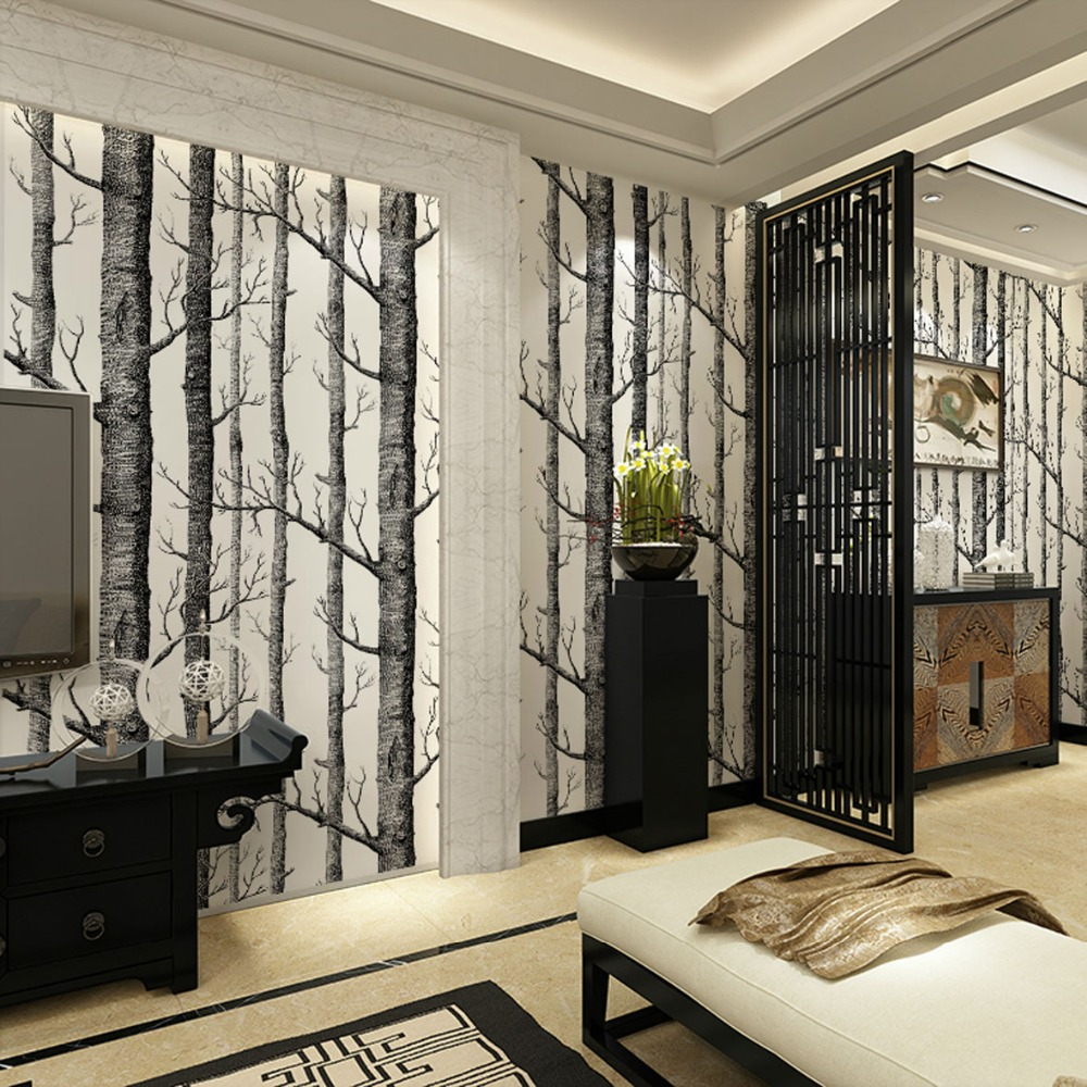 aliexpress com buy birch tree pattern non woven woods wallpaper aliexpress com buy birch tree pattern non woven woods wallpaper roll modern designer wallcovering simple black and white wallpaper for living room from